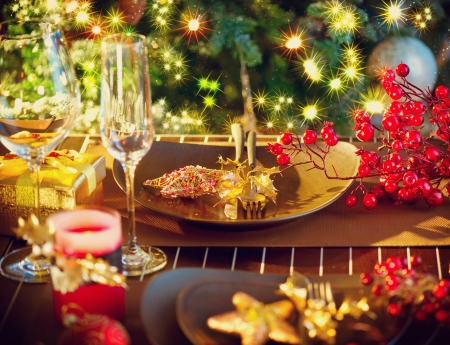 candle light table setting: Christmas And New Year Holiday Table Setting  Celebration Stock Photo