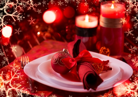 Christmas And New Year Holiday Table Setting  Celebration Zdjęcie Seryjne