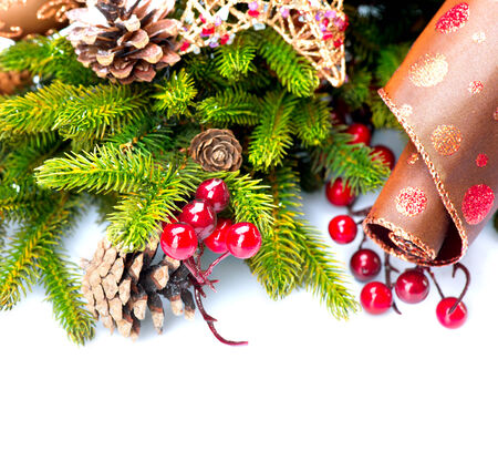 Christmas Holiday Decorations Isolated on White photo