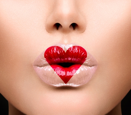 day: Beauty Sexy Lips with Heart Shape paint  Valentines Day