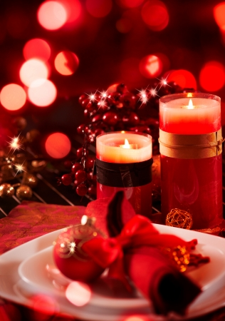 Kerstmis en Nieuwjaar vakantie tabel Celebration Stockfoto