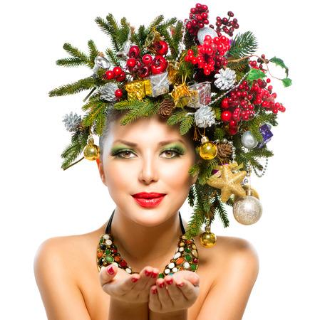 christmas manicure: Christmas Woman  Christmas Tree Holiday Hairstyle and Makeup