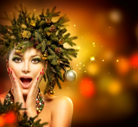 Christmas Woman  Christmas Holiday Hairstyle and Makeup photo