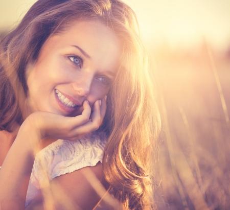 natur: Beauty Frische Romantisches Mädchen Freien Natur Lizenzfreie Bilder