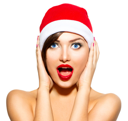New Year Woman  Beauty Christmas Model Girl in Santa Hat photo