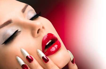 red nail: Fashion Beauty Model Girl  Manicure and Make-up  Nail art