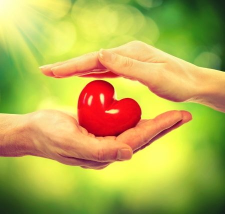 charitable: Valentine Heart in Man and Woman Hands over Nature  Stock Photo