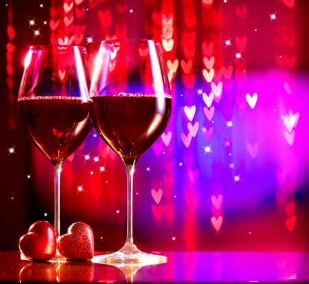 valentine's: Valentine s Day Celebrating  Two Glasses of Red Wine Stock Photo