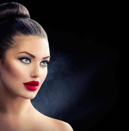 Fashion Model Girl Portrait with Blue Eyes and Sexy Red Lips Stock Photo