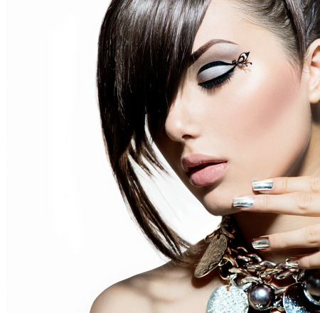 makeup face: Fashion Model Girl Portrait  Trendy Hair Style