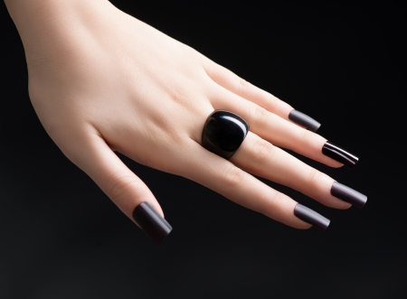 Manicured Nail with Black Matte Nail Polish  Fashion Manicure Stock Photo - 25059940