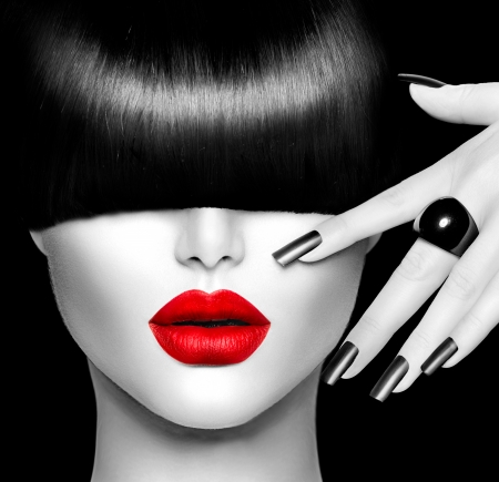 trendy: Fashion Model Girl with Trendy Hairstyle, Makeup and Manicure