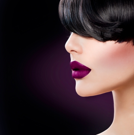 sexual: Beauty Woman Face close up with Beautiful Dark Violet Lips