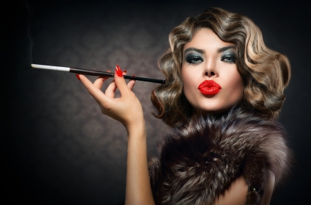 Beauty Retro Woman with Mouthpiece  Vintage Styled Beauty  Stock Photo