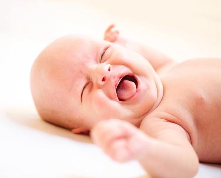 Gråtande Nyfödda Baby Baby Boy Cry Stockfoto
