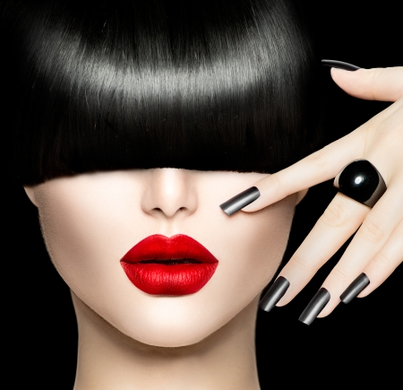 nails: Beauty Girl Portrait with Trendy Hairstyle, Black Lips and Nails