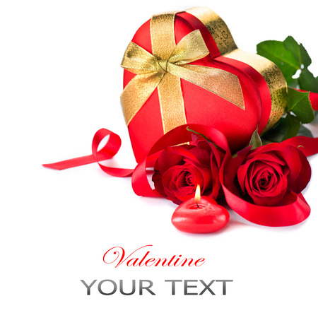 Valentine Heart Shape Gift Box and red roses bouquet  photo