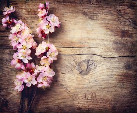 木製のテーブルの上の春の花
