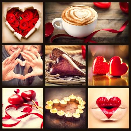 romantisch: Valentine Collage St. Valentines Day Hearts Kunst Design Liebe