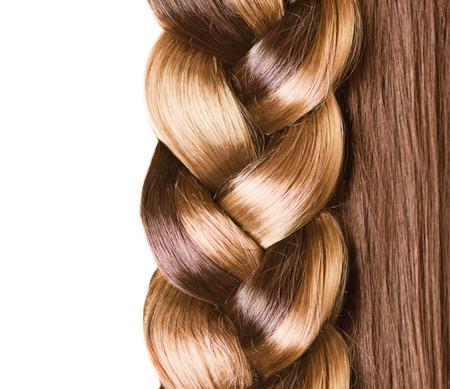 champu: Braid Peinado el pelo marrón largo de cerca el pelo sano