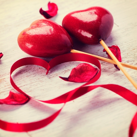 Valentine Heart  Red Satin Gift Ribbon and Red Hearts  photo