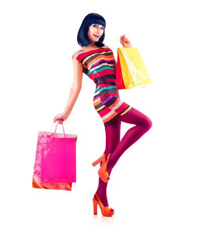 時尚: 時尚購物型女孩全長肖像