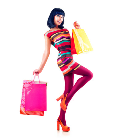 Fashion Shopping Girl Model voller Länge Portrait Standard-Bild