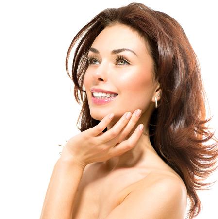 Schönheit Frau Schöne junge Frauen ihre Haut berührt