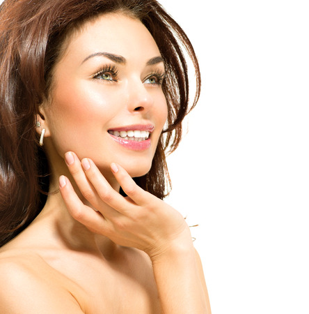 Beauty Woman  Beautiful Young Female touching Her Skin Stock Photo