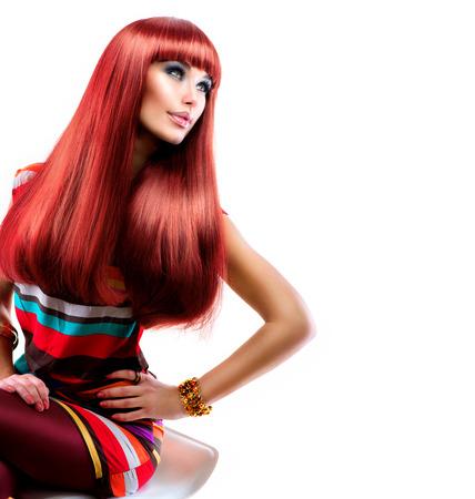 Saludable pelo recto largo rojo Moda Belleza Modelo Chica