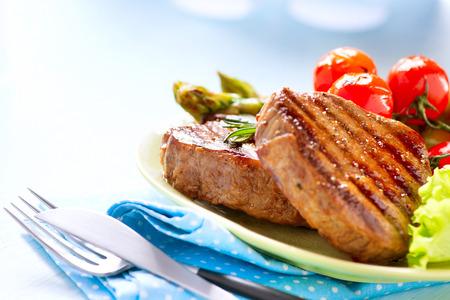 Steak gegrilltes Rindfleisch Steak Fleisch mit Gem�se
