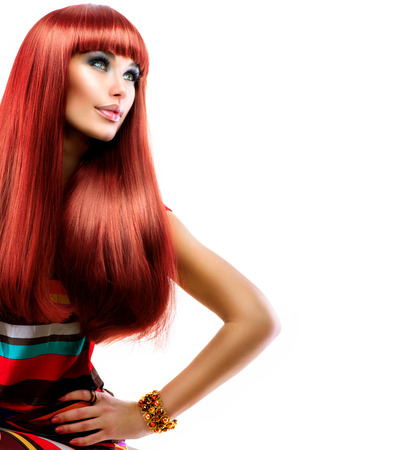 Healthy Straight Long Red Hair  Fashion Beauty Model Girl photo