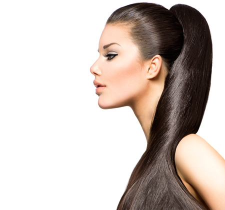 Pferdeschwanz-Frisur Schönheit Brunette Model Mädchen Standard-Bild