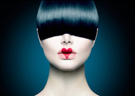 Alta Retrato Fashion Girl Modelo com franja na moda
