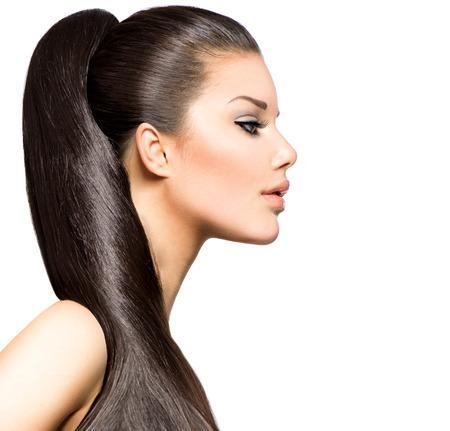 Pferdeschwanz-Frisur Schönheit Brunette Model Mädchen