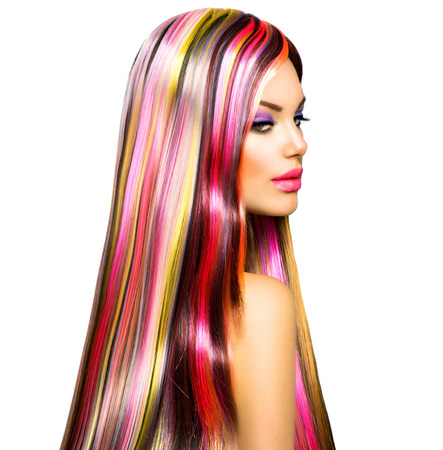 Beauty Fashion Model Girl with Colorful Dyed Hair photo