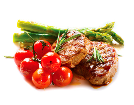 steaks: BBQ Steak  Barbecue Grilled Beef Steak Meat with Vegetables