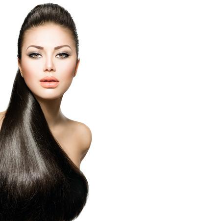 hosszú haj: Fashion Model lány hosszú egészséges egyenes haj Stock fotó