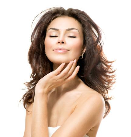 Beauty Woman  Beautiful Young Female touching Her Skin photo