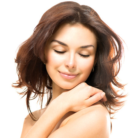 happy faces: Beauty Woman  Beautiful Young Female touching Her Skin Stock Photo