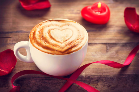 Valentine s Day Coffe or Cappuccino with heart on foam
