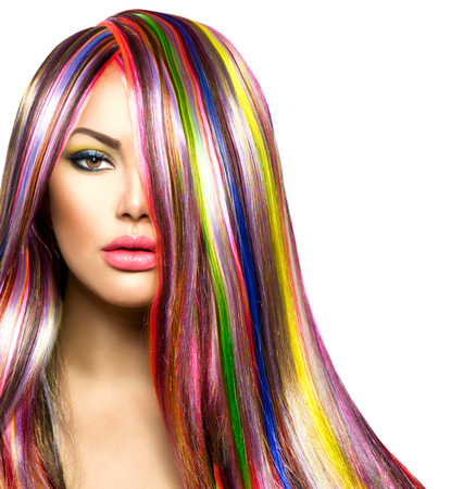 Colorful Hair and Makeup  Beauty Fashion Model Girl photo