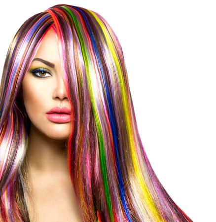 szépség: Színes haj és smink Szépség Divat modell lány Stock fotó