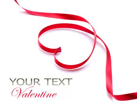 valentijn hart: Valentine Heart Elegante rode satijnen lint cadeau Stockfoto