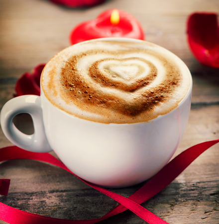cappuccino: Valentine s Day Coffe or Cappuccino with Heart on Foam Stock Photo