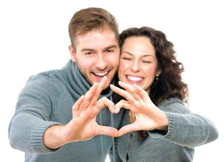 saint valentin coeur: Couple Valentine isolé sur fond blanc