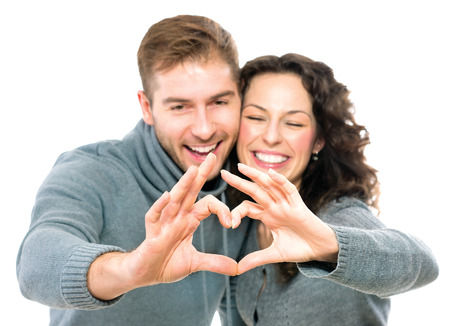 adult valentine: Valentine couple isolated on white background