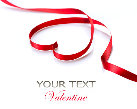 Valentine Heart  Red Silk Ribbon Curves Frame