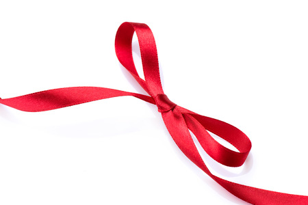 anniversary card: Red satin gift bow  Red silk ribbon