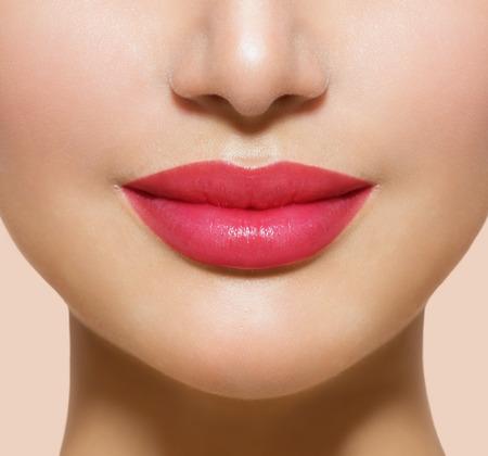 full lips: Beautiful Perfect Lips  Sexy Mouth Closeup Stock Photo